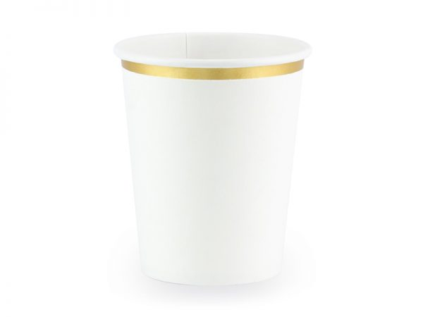 Candybar Hochzeit Pappbecher Weiß/Gold