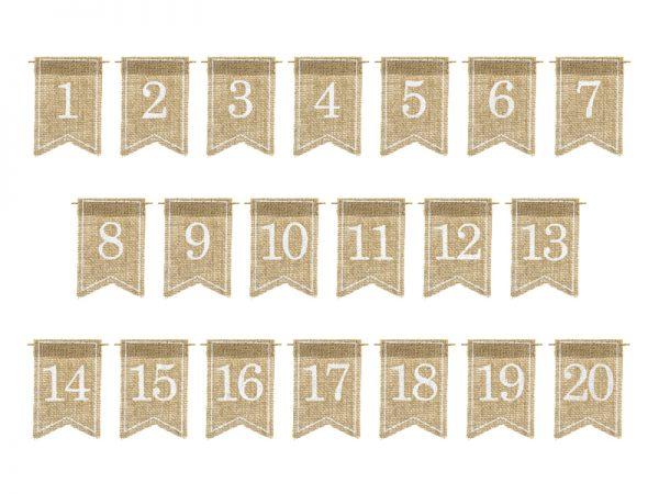 Deko und Geschenke Shop Jute-Tischnummern