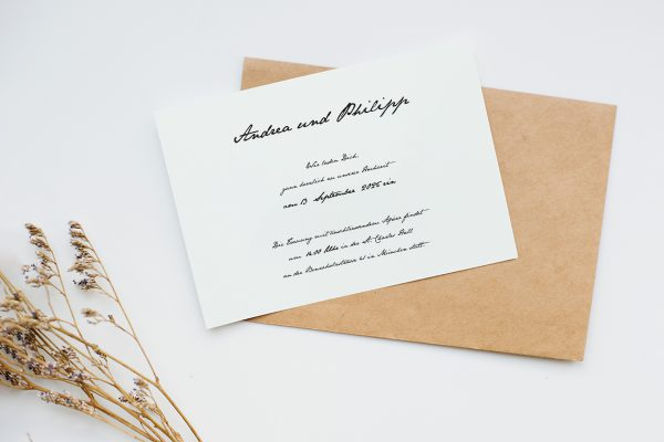 Hochzeitseinladungen Hochzeitseinladungen Kalligraphie Handschriftlich