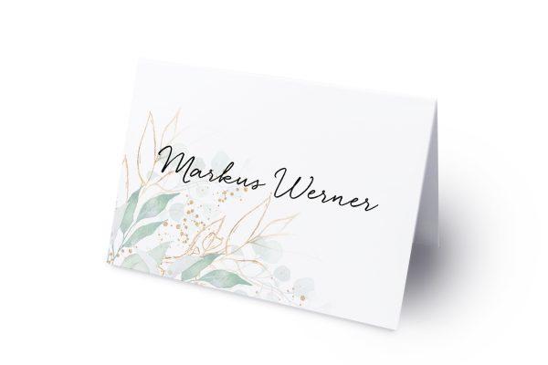 Extras Minimalistischer Kranz Wiesengrün Namenschilder & Tischkarten Hochzeit