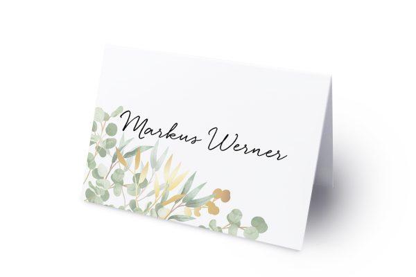 Extras Minimalistischer Kranz Dschungel Grün Namenschilder & Tischkarten Hochzeit