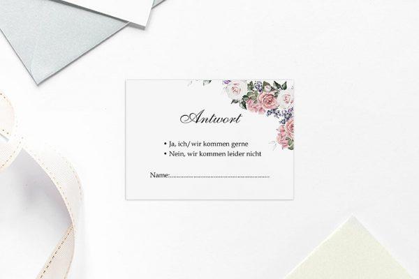 Antwortkarten zur Hochzeit Blumenherz Wohlriechend Antwortkarten