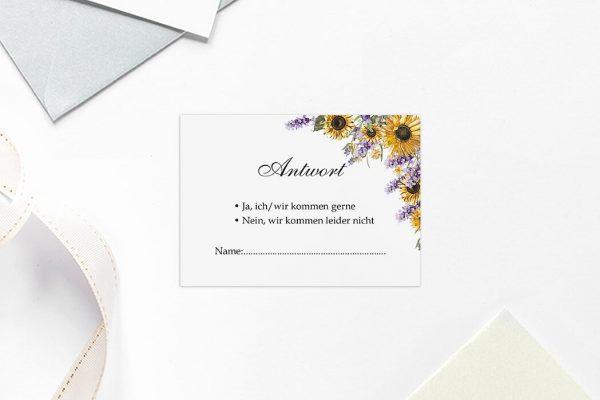 Antwortkarten zur Hochzeit Blumenherz Sonnenblumen Antwortkarten