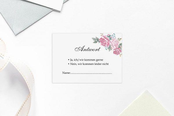 Antwortkarten zur Hochzeit Blumenherz Blumenecke Antwortkarten