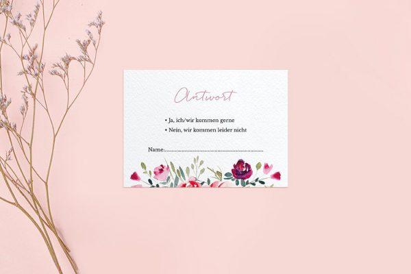 Antwortkarten zur Hochzeit Blumenbeet Luftig Antwortkarten