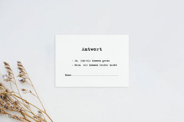 Antwortkarten zur Hochzeit Kalligraphie Vintage Antwortkarten
