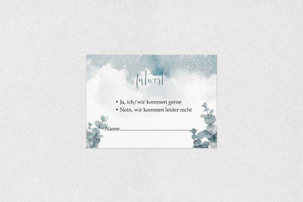 Antwortkarten zur Hochzeit Palmen dunkel Antwortkarten