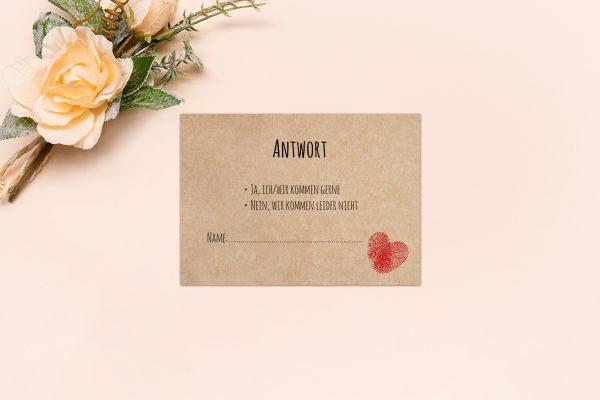Antwortkarten zur Hochzeit Fingerabdruck Liebeserklärung Antwortkarten