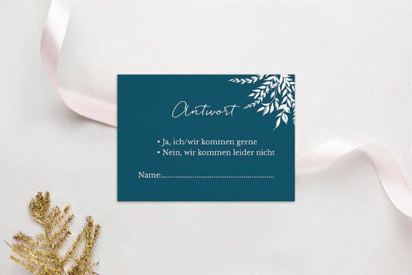 Antwortkarten zur Hochzeit Aufnahme mit einfachem Kranz Antwortkarten
