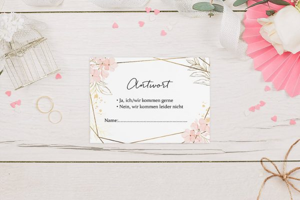 Antwortkarten zur Hochzeit Floral Elegant Blumenzeichnung Antwortkarten