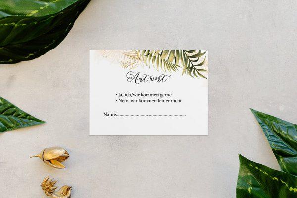 Antwortkarten zur Hochzeit Greenery Exotisch Antwortkarten