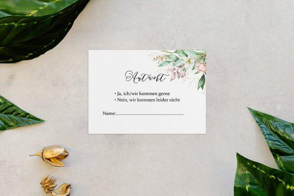 Antwortkarten zur Hochzeit Greenery Fliessend Antwortkarten
