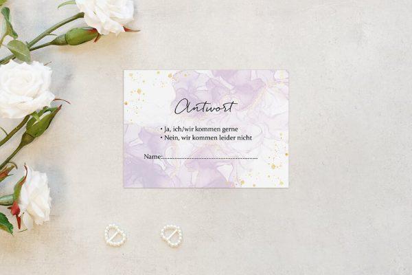 Antwortkarten zur Hochzeit Batik Veilchenblau Antwortkarten