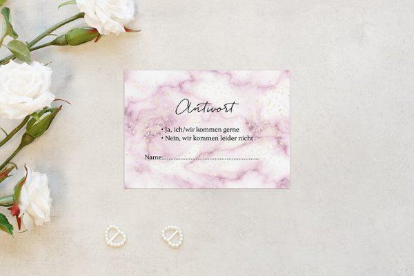 Antwortkarten zur Hochzeit Batik Himbeerfarben Antwortkarten