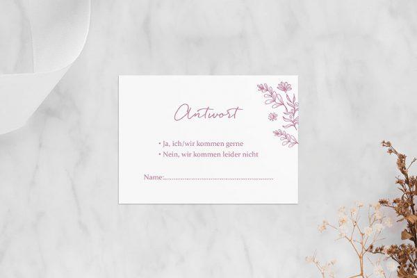 Antwortkarten zur Hochzeit Rosenpracht Traumhaft Antwortkarten