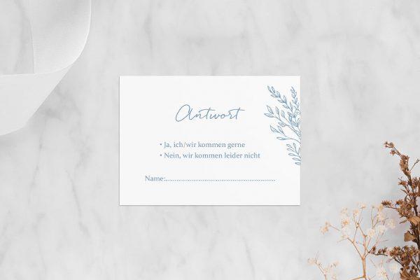 Antwortkarten zur Hochzeit Rosenpracht mit Gräsern Antwortkarten