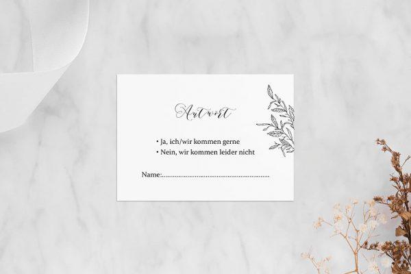 Antwortkarten zur Hochzeit Rosenpracht mit Blättern Antwortkarten