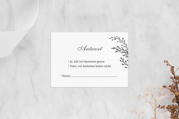 Antwortkarten zur Hochzeit Rosenpracht mit Tannenzweigen Antwortkarten