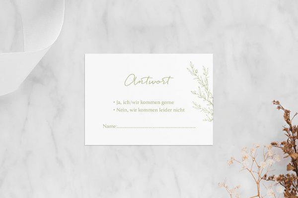 Antwortkarten zur Hochzeit Rosenpracht mit wildem Gras Antwortkarten