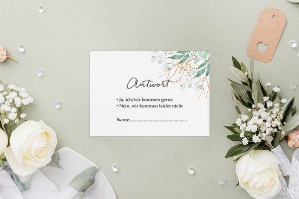Antwortkarten zur Hochzeit Minimalistischer Kranz Wiesengrün Antwortkarten