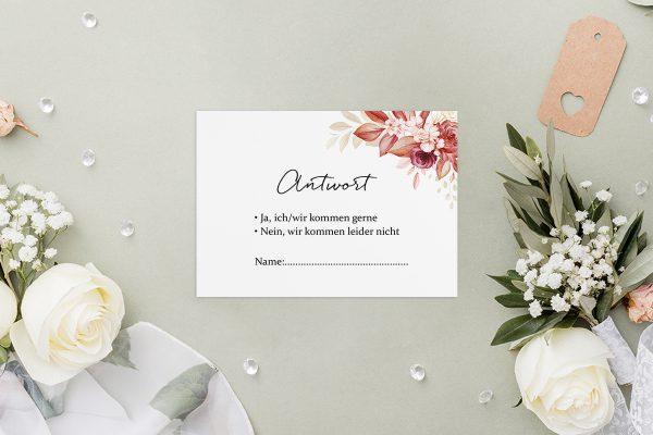 Antwortkarten zur Hochzeit Minimalistischer Kranz Rosa Eleganz Antwortkarten