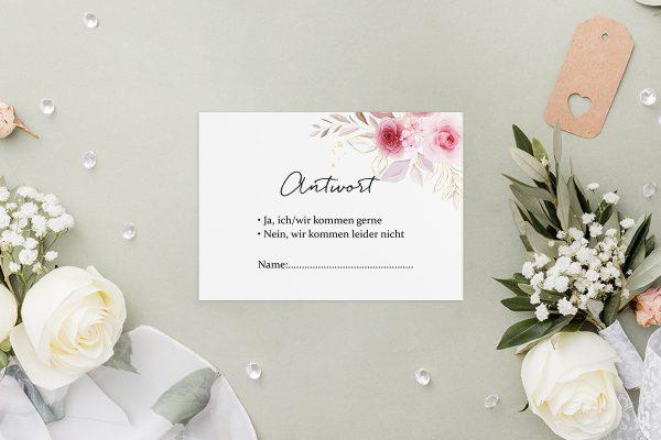 Antwortkarten zur Hochzeit Minimalistischer Kranz Zart Rosa Antwortkarten