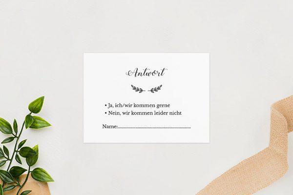 Antwortkarten zur Hochzeit Country Bast Ländlich Antwortkarten