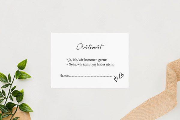 Antwortkarten zur Hochzeit Country Bast Herzig Antwortkarten