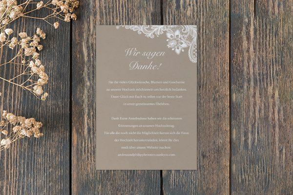 Dankeskarten zur Hochzeit Spitzentraum Vintage moon light Dankeskarten