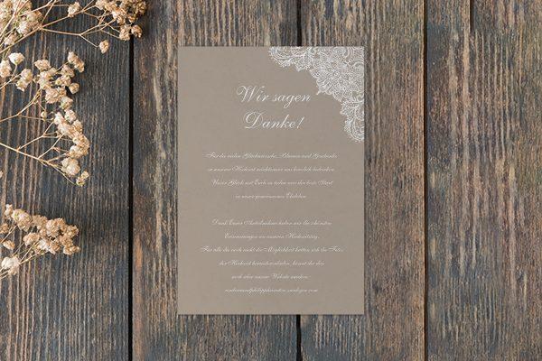 Dankeskarten zur Hochzeit Spitzentraum Crafty Dankeskarten