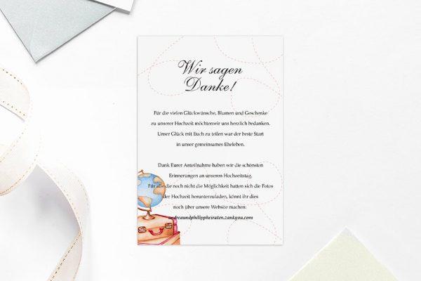 Dankeskarten zur Hochzeit Blumenherz Weltreise Dankeskarten