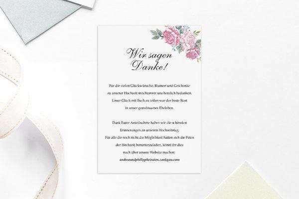 Dankeskarten zur Hochzeit Blumenherz Blumenecke Dankeskarten