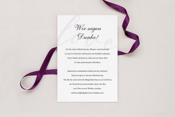 Dankeskarten zur Hochzeit Modern Bast Blau Dankeskarten