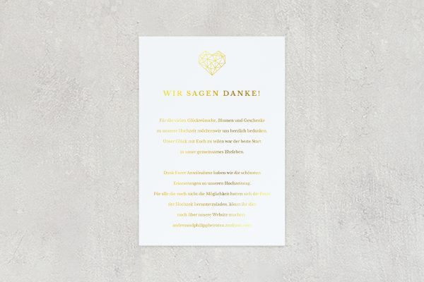Dankeskarten zur Hochzeit Herzensangelegenheit dreidimensional Dankeskarten