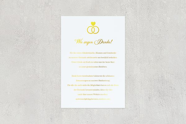Dankeskarten zur Hochzeit Herzensangelegenheit in Ringform  Dankeskarten