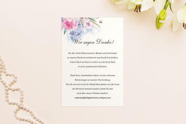Dankeskarten zur Hochzeit Aquarell edel Dankeskarten
