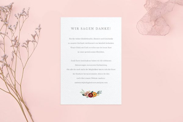 Dankeskarten zur Hochzeit Blumenbeet Sorglos Dankeskarten