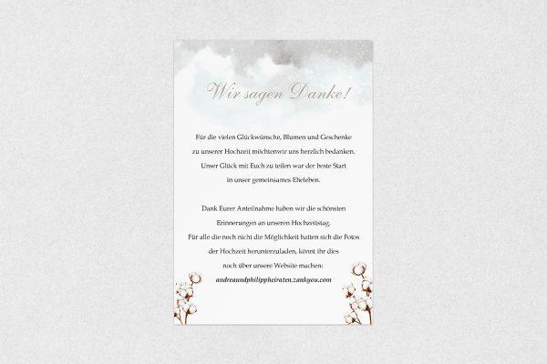 Dankeskarten zur Hochzeit Palmen weich Dankeskarten