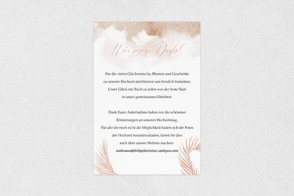 Dankeskarten zur Hochzeit Palmen fernöstlich Dankeskarten
