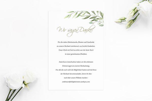 Dankeskarten zur Hochzeit Zeichnung Gemalt Dankeskarten