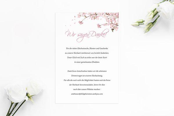 Dankeskarten zur Hochzeit Zeichnung Kirschblüte Dankeskarten