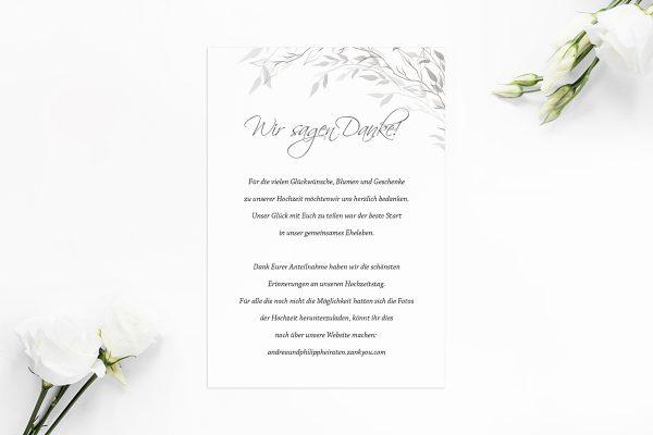Dankeskarten zur Hochzeit Zeichnung Schwarz und Weiß Dankeskarten