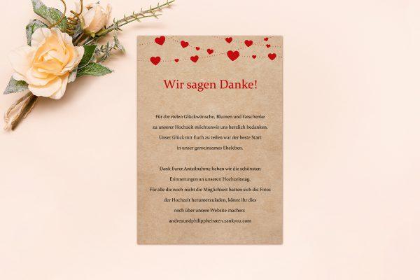 Dankeskarten zur Hochzeit Fingerabdruck Simple Love Dankeskarten