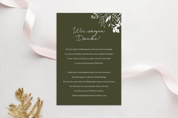 Dankeskarten zur Hochzeit Aufnahme mit Gräserkranz Dankeskarten