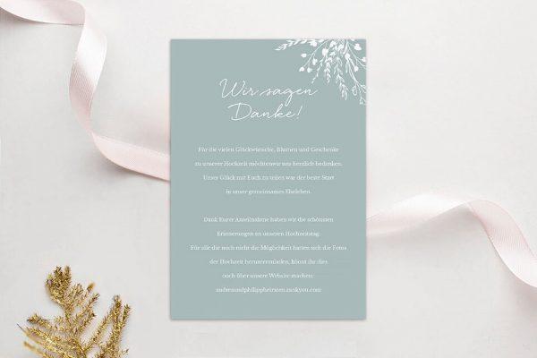 Dankeskarten zur Hochzeit Aufnahme mit Blümchenkranz Dankeskarten