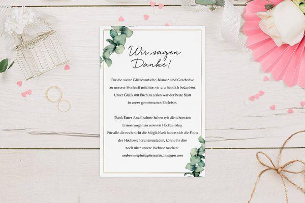 Dankeskarten zur Hochzeit Floral Elegant Romantisch Dankeskarten