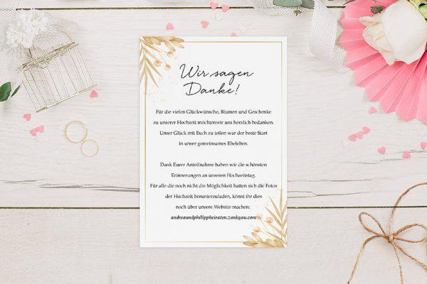 Dankeskarten zur Hochzeit Floral Elegant Traditionell Dankeskarten