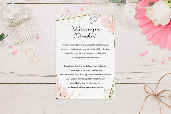 Dankeskarten zur Hochzeit Floral Elegant Blumenzeichnung Dankeskarten
