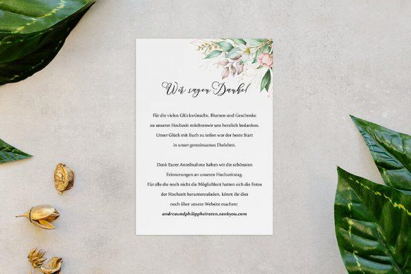 Dankeskarten zur Hochzeit Greenery Fliessend Dankeskarten