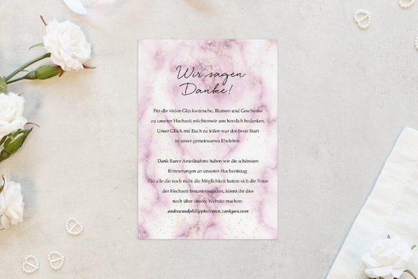 Dankeskarten zur Hochzeit Batik Himbeerfarben Dankeskarten